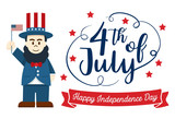Flat design, Cute Cartoon Abraham Lincoln, Happy 4th of July Independence Day Banner - 209545575