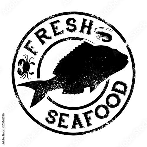 Fototapeta Fresh seafood rubber stamp design, Vector