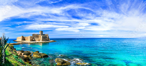 Plexiglas Freesurf Le Castella .Isola di Capo Rizzuto - fantastic place with castle in the sea. Calabria, Italy