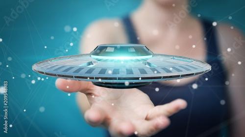 Aluminium UFO Businesswoman with retro UFO spaceship 3D rendering