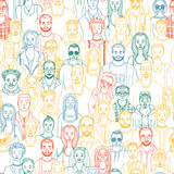 hand drwan people seamless vector pattern. Doodle crowd - 209552313