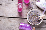 Dry lavender buds bowl, sachet wit lavender  and bottles with cosmetics - 209552583