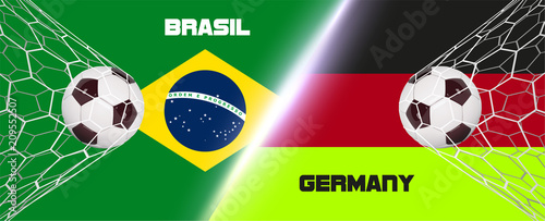 Soccer or Football wide Banner With 3d Ball on flag of Germany vs Brasil background. Football game match goal moment with realistic ball in the net on flags background and place for text - 209552507