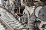 locomotive wheels on rails