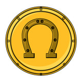 coin with lucky horseshoe icon over white background, vector illustration - 209555389