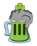 irish beer mug with a clover over white background, vector illustration - 209555525