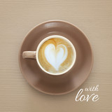 image of coffe cup with foam of heart shape over wooden background and text: WITH LOVE. - 209556173