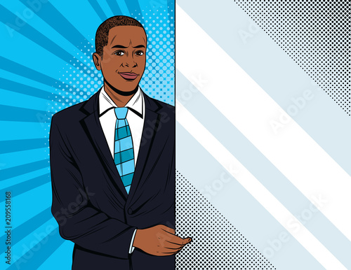 In de dag Pop Art Vector colorful pop art style illustration of a businessman holding a white banner. Handsome african american guy in suit showing to advertisement place