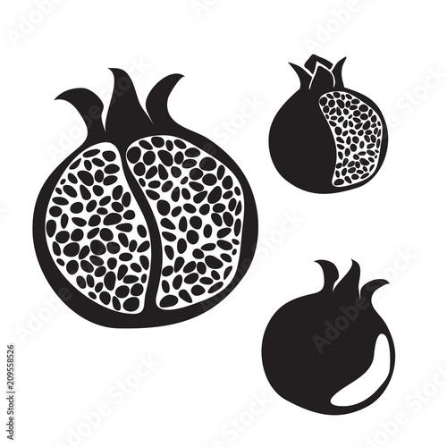 Pomegranate silhouette set, hand drawn vector.