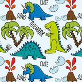 Prehistoric pattern. Dino Friends, funny cartoon dinosaur and tropic plants collection. Hand drawn vector doodle set for kids. Good for textiles, scrap booking, wallpapers, wrapping paper, clothes.