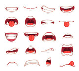 Cartoon mouths. Facial expression surprised mouth with teeth shock shouting smiling and biting lip vector illustration - 209566916