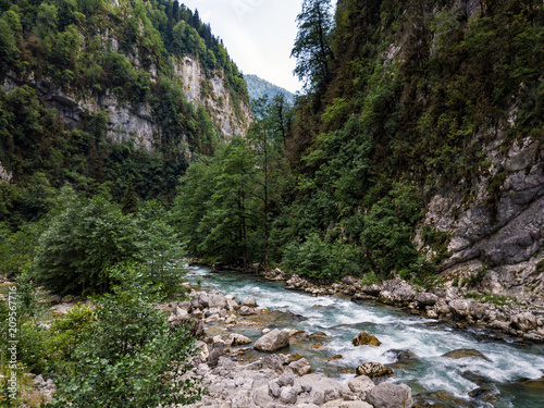 Foto Murales The mountain river flows among the rocks in the mountain canyone