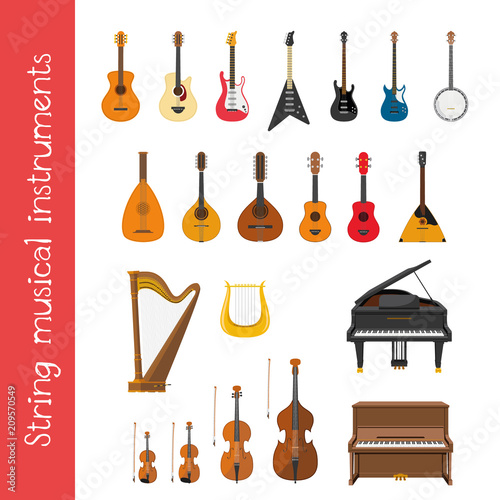 Fototapeta Vector illustration set of string musical instruments in cartoon style isolated on white background