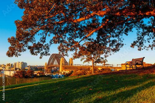 An overlooking view of Sydney's Harbour Bridge from Sydney Observatory