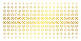 Insemination icon golden halftone pattern. Vector insemination pictograms are organized into halftone matrix with inclined golden gradient. Designed for backgrounds, covers, - 209573901