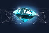 Diamond shinning in front of connections - 3d render - 209575310