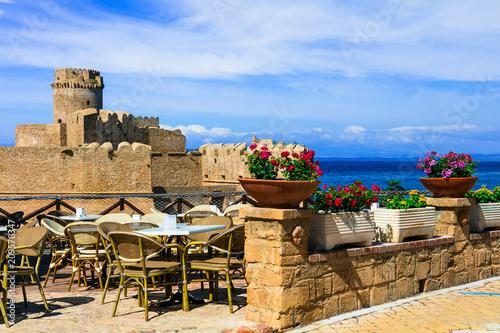 Plexiglas Freesurf Italian landmarks - medieval aragonese castle. Le Castella .Isola di Capo Rizzuto in Calabria