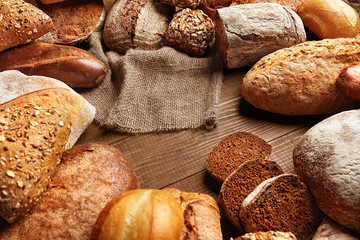 Bread Variety Still Life. Bakery Food On Wooden Table