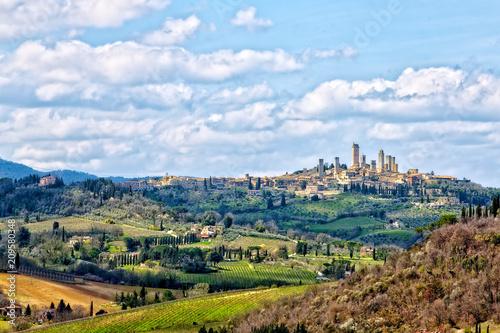 Aluminium Toscane le torri di San Gimignano sulle colline toscane