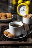 sweet breakfast with coffee, vertical