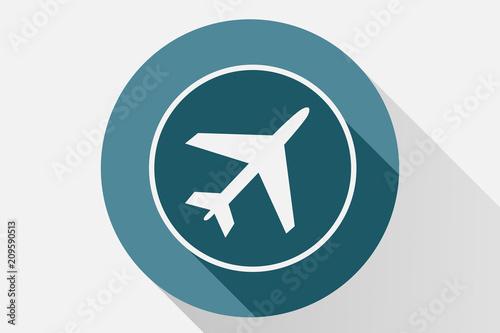 Poster Icono azul de avión.