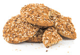 Pile of oatmeal cookies isolated