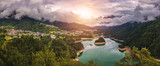 Panoramic view of lake of Centro Cadore in the Alps in Italy, Dolomites, near Belluno. - 209594505