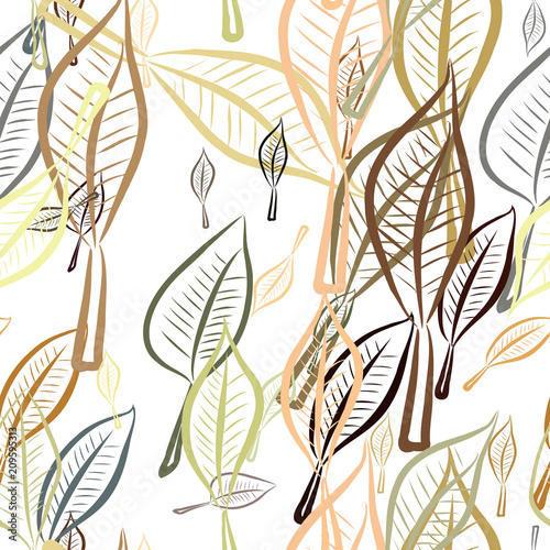 Tapeta Seamless hand drawn leaves illustrations background, good for graphic design, wallpapers or booklets.