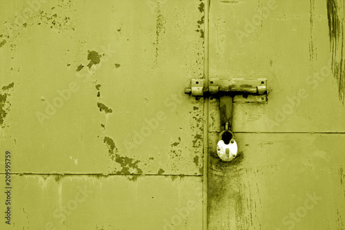 Foto Murales Old padlock on metal gate in yellow color.