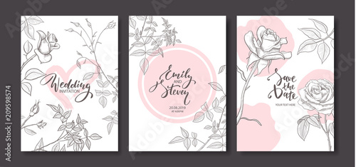 Wedding invitation cards with hand drawn roses.Floral poster, invite. Vector decorative greeting card,invitation design background - 209598574