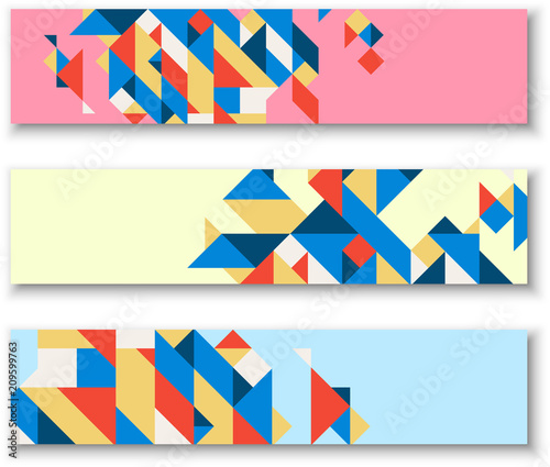 Banners with abstract colorful geometric pattern. - 209599763