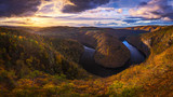 River canyon with dark water and autumn colorful forest. Horseshoe bend, Vltava river, Czech republic. Beautiful landscape with river - 209599920
