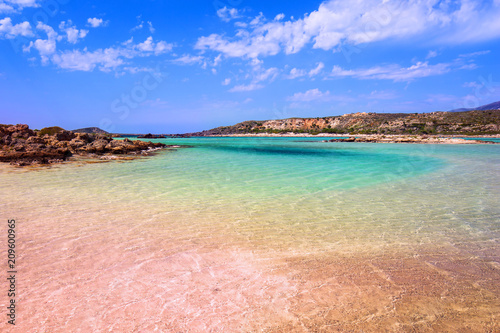 Leinwanddruck Bild Elafonissi beach with pink sand on Crete, Greece
