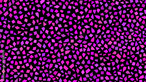 Abstract backdrop of small pieces of paper or splinters of ceramics in shades of purple color on black background