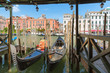 Venice / Sunset view of the river canal and traditional venetian architecture