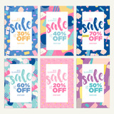 Summer sale banners. Vector illustrations of online shopping ads, posters, newsletter designs, coupons, mobile and social media banner templates, marketing material. - 209603717