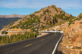 Highway in alpine tundra. Rocky Mountains, Colorado.