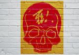 Graffiti représentant une tête de mort. - 209606197