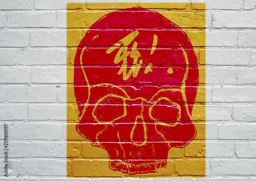 Aluminium Graffiti Graffiti représentant une tête de mort.