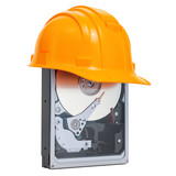 Hard Disk Drive HDD with hard hat , protection concept. 3D rendering - 209607106