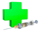 Medical care, vaccination concept. Green cross with syringe. 3D rendering - 209607383