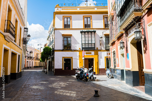 colorful street of seville old town, spain