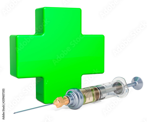 Medical care, vaccination concept. Green cross with syringe. 3D rendering
