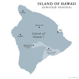 Island of Hawaii, gray colored political map. Largest island in the U.S. State of Hawaii in the North Pacific Ocean. Big Island, Big I, Hawaii Island. English labeling. Illustration over white. Vector - 209612374