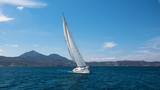 Sailing ship luxury yacht with white sails in the Mediterranean sea. - 209618368