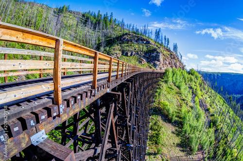 Fototapeta Historic Trestle Bridge at Myra Canyon in Kelowna, Canada