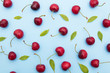 Leinwanddruck Bild - background of cherries and leaves on blue