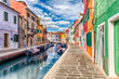 Leinwanddruck Bild - Colorful houses along the canal, island of Burano, Venice, Italy