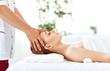 Leinwanddruck Bild - beautiful girl enjoys massage and spa treatments