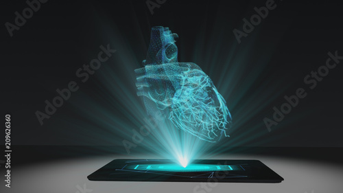 Heart health projection futuristic holographic display hologram